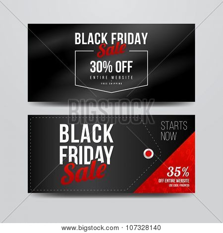 Black Friday sale banners set. Modern style vector templates.