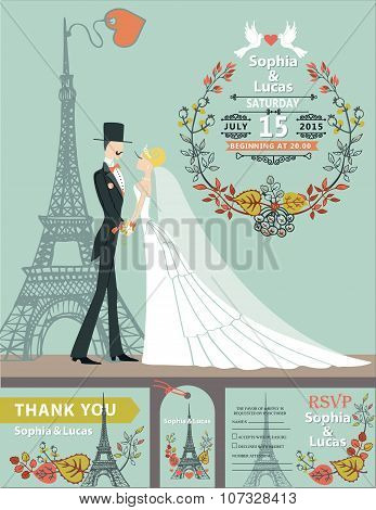 Wedding invitation.Groom,bride,autumn wreath,Eiffel tower
