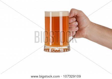 hand with mug of beer