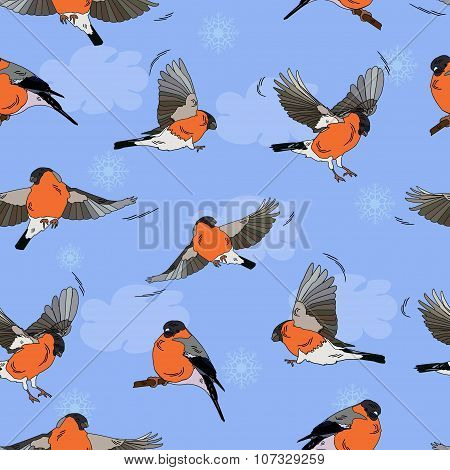 Bullfinches In Flight. Pattern Seamless