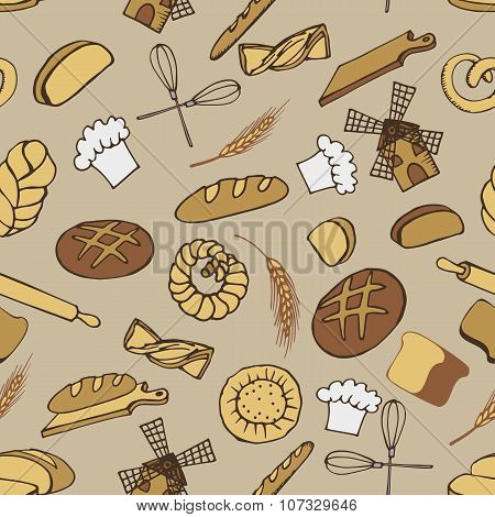 Doodle bakery,bread seamless pattern.Colored vintage ornament