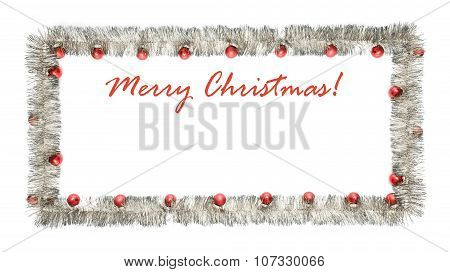 Christmas Greeting Card Made Of Silver Tinsel Frame With Red Christmas Balls