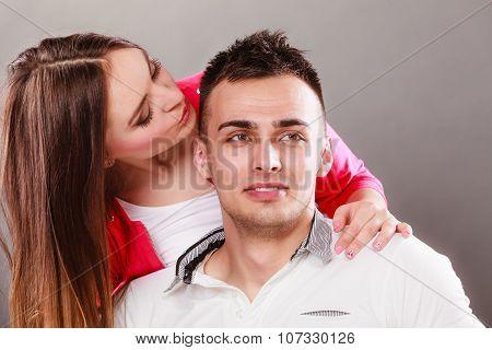 Woman Kissing Man. Happy Couple. Love.
