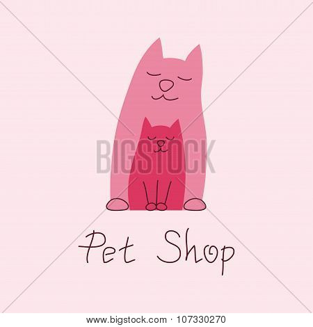 Cat mother and kitten tender embrace, sign for pet shop logo