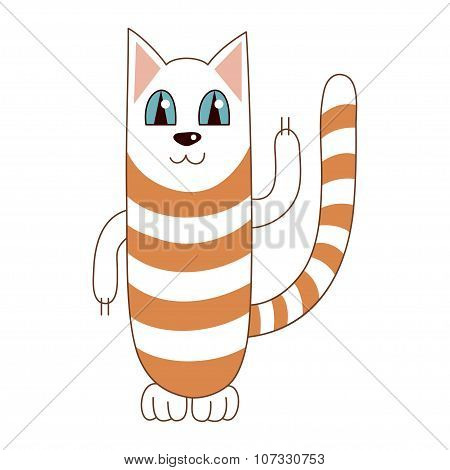 Vector illustration of funny cute striped cat smiling