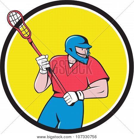 Lacrosse Player Crosse Stick Running Circle Cartoon