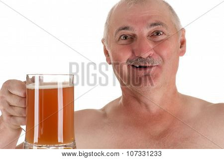 humorous emotional portrait adult man with a beer in hand