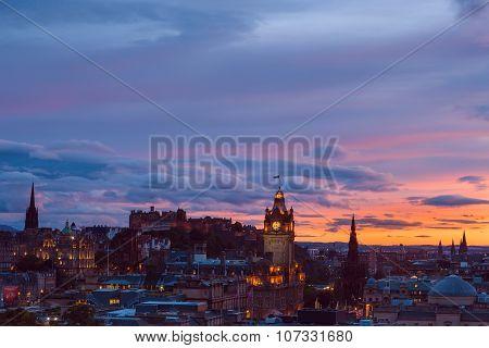 Edinburgh City At Sunset