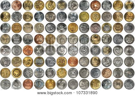 Metal coins of different countries