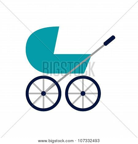 colored baby stroller flat icon