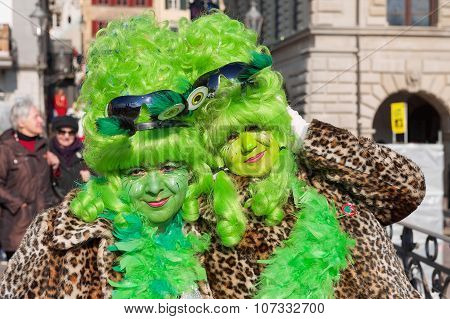 Portrait of two ladies wearing a carnival costumes at Lucerne Carnival in Lucerne, Switzerland.
