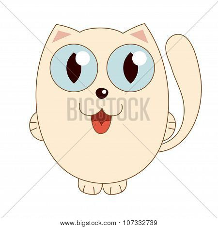 Vector illustration of beige funny fatty cat