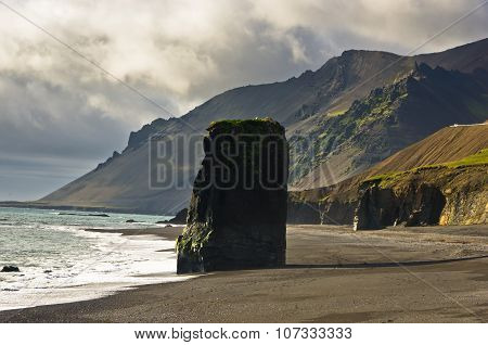 Picturesque black sand volcanic beach at summer, south Iceland