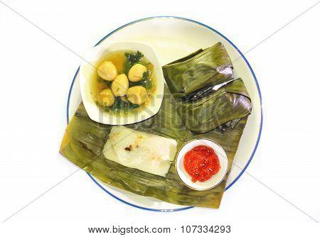 Buras And Sop Telur, Indonesia food