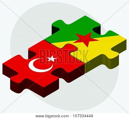 Turkey And French Guiana Flags