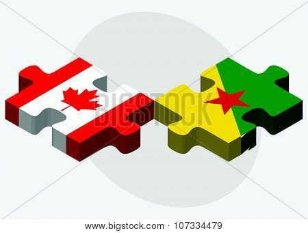Canada And French Guiana Flags