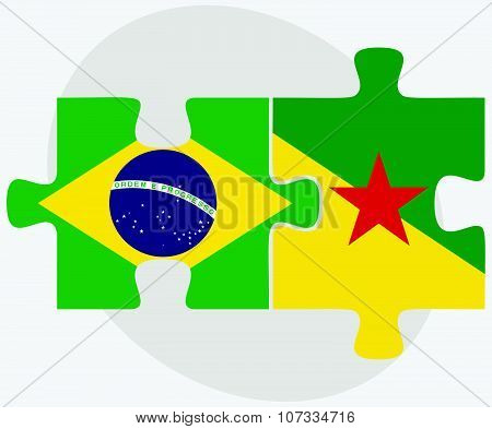 Brazil And French Guiana Flags