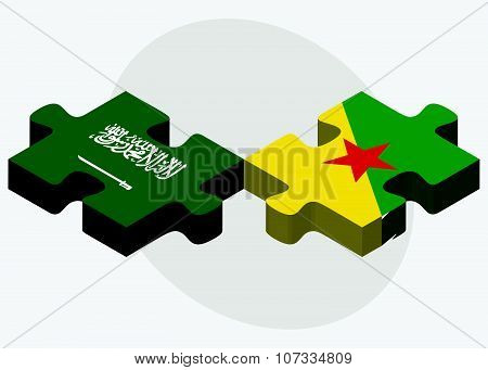 Saudi Arabia And French Guiana Flags