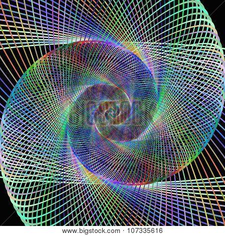 Colorful string spiral design