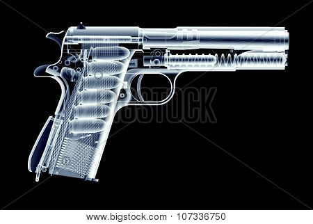 Xray Image Of Gun Isolated On Black