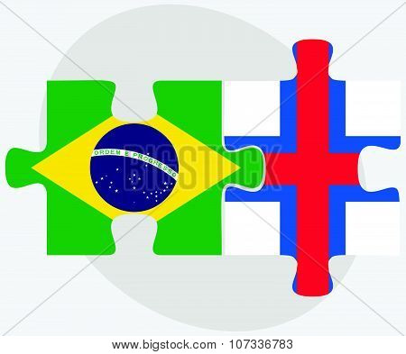Brazil And Faroe Islands Flags