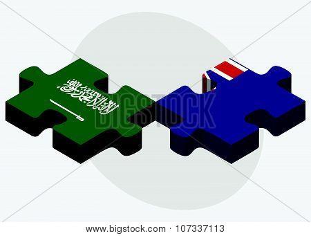 Saudi Arabia And Falkland Islands Flags
