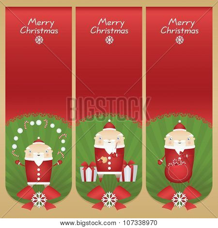 Set Vector Cartoon Banners With Flat Icons Santa Claus With Snowballs, Candy Sticks, Glass Of Milk,