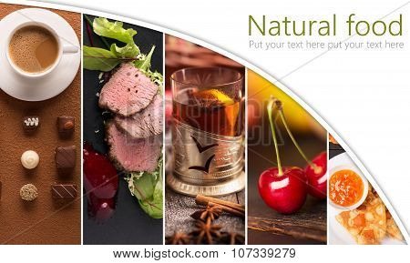 Collage Form Photos Of Natural Food