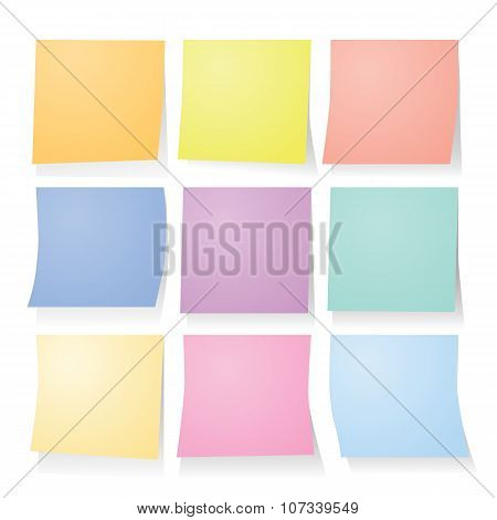 collection set of colorful post it paper note.