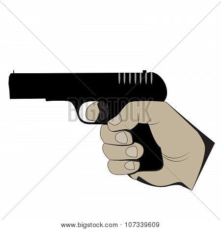 vector hand with a gun