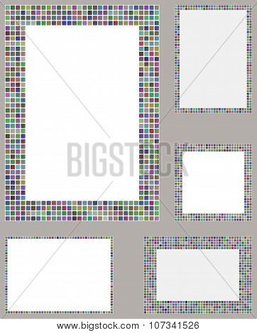 Multicolored pixel mosaic page layout border set