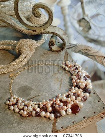 Necklace With Pearls And Red Amber