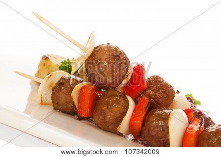 Delicious Meatballs Skewer.