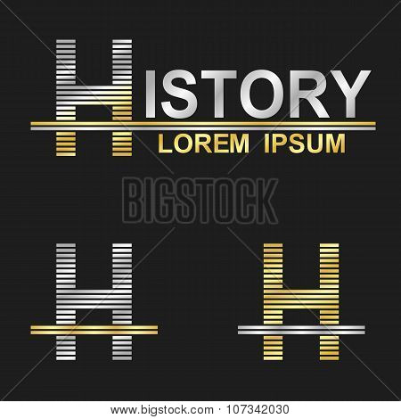Metallic business font design - letter H