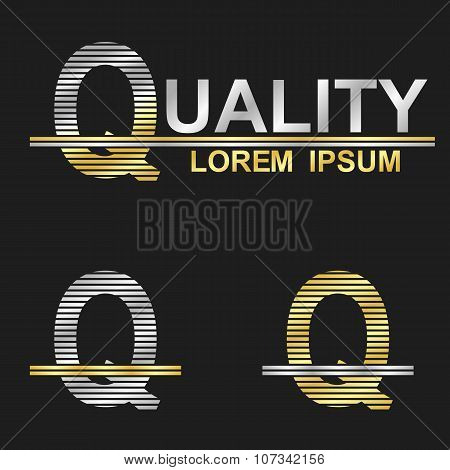 Metallic business font design - letter Q