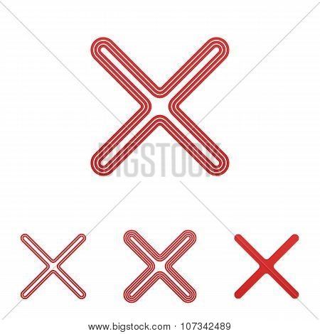 Red line delete logo design set