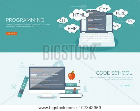 Vector illustration. Flat background. Coding, programming. SEO. Search engine optimization. App deve