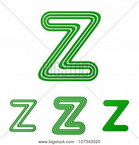 Green z letter logo design set
