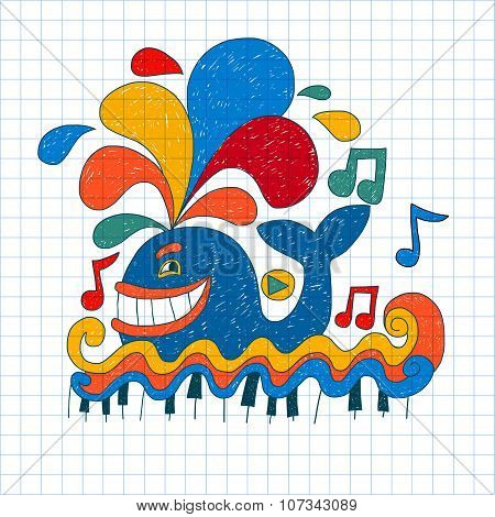 Vector image of nice happy musical whale
