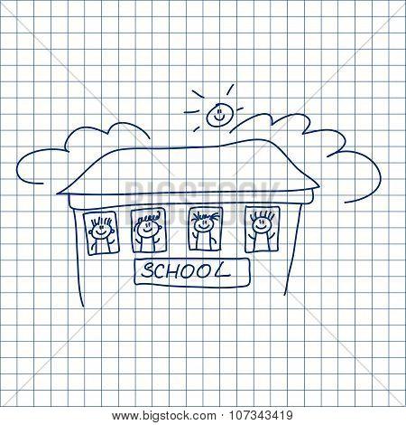 Happy children. School building. Students.
