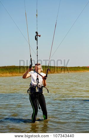 young woman kite-surfer