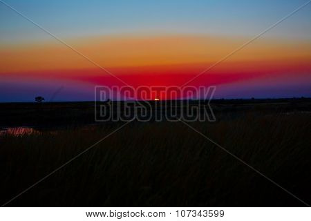 beautiful sunset in steppe