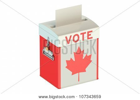 Ballot Box With Flag Of Canada