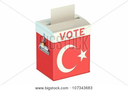 Ballot Box With Flag Of Turkey