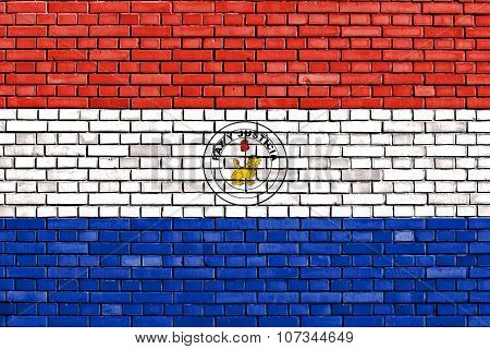 Flag Of Paraguay Reverse Painted On Brick Wall