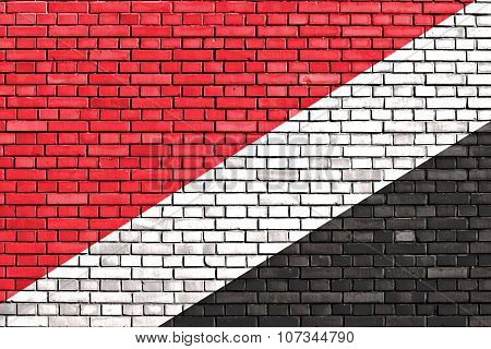 Flag Of Sealand Painted On Brick Wall