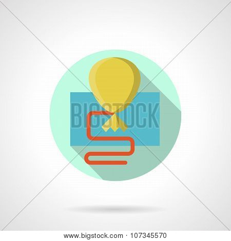 Yellow balloon simple flat color vector icon
