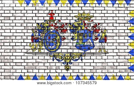 Flag Of Hajdu-bihar County Painted On Brick Wall