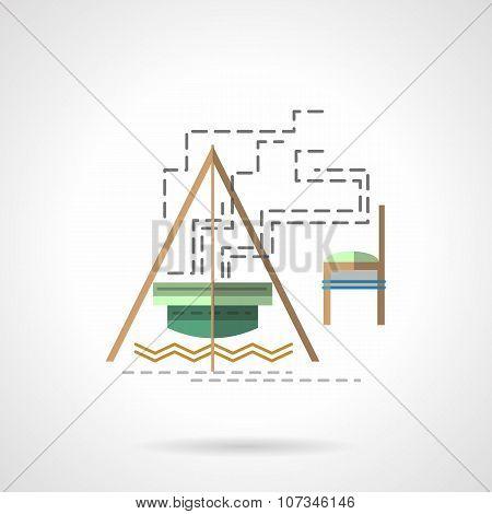 Campfire flat color vector icon