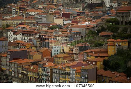 Close up of orange roof top of house of city of Porto, Portugal